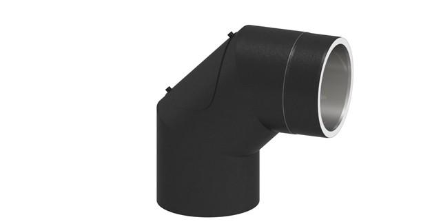 Isoliertes Rauchrohr Winkel 90° mit tür