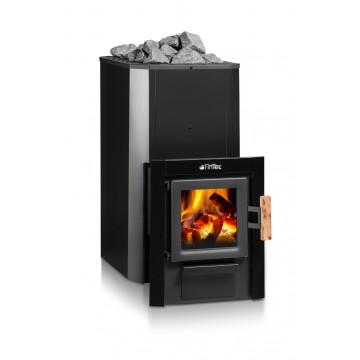 FinTec Iwo Trend MH. Holz-Saunaofen mit Außenbefeuerung und Zulassung nach der 2.Stufe der 1.BImSchV. (Abbildung zeigt Ofen mit Einbaurahmen schwarz - optionales Zubehör)