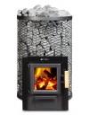 Holzbeheizter Saunaofen für Außenbefeuerung. Der Saunaofen erfüllt optional die 2. Stufe der 1.BImSchV