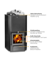 Holzbeheizter Saunaofen mit Zulassung der der 2.Stufe der 1.BImSchV